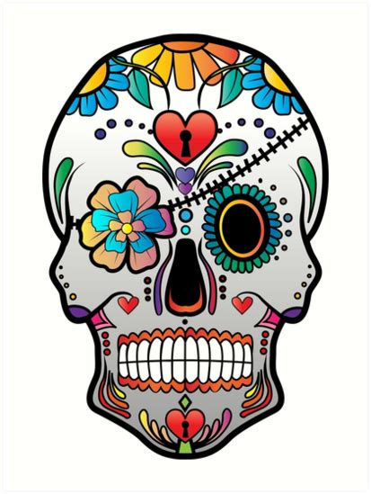 quot sugar skull w no background 3 quot art prints by kennasato