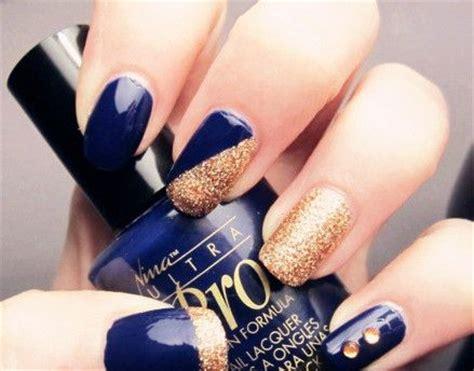 Nice Navy Blue And Gold Acrylic Nails Gallery - Nail Polish Ideas ...