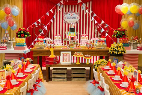 party themes with red classic red white circus themed birthday party