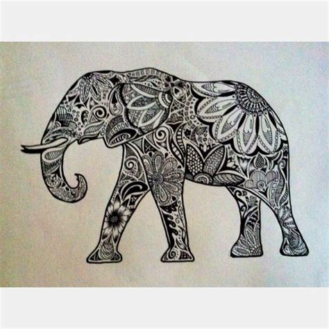 elephant zentangle tattoo because you can never have too many pieces of elephant art