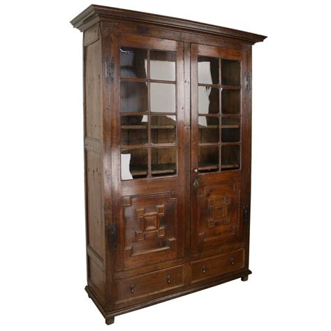 antique fruitwood and oak bookcase original glass for sale at 1stdibs