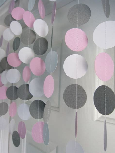 Pink And Gray Elephant Baby Shower Decorations by Pink And Gray Garland Paper Garland Birthday Garland