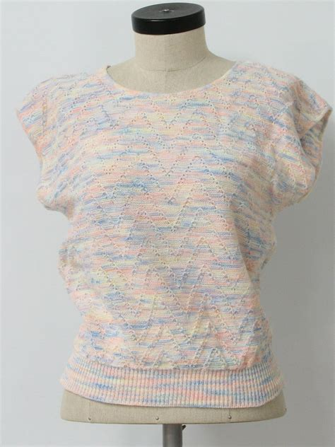 Sweater Knit Babyteri White Stripe 1980 s sweater picture 80s picture womens white baby blue and