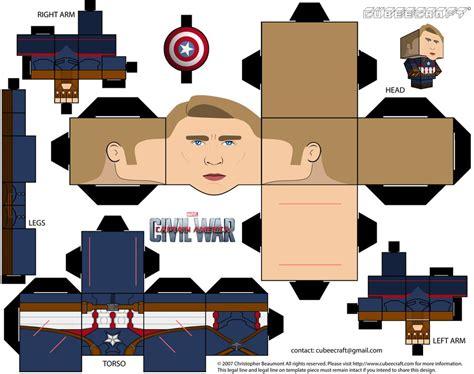 Captain America Papercraft - captain america cubeecraft by jagamen on deviantart