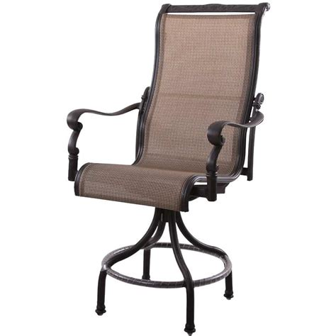 pub height chairs patio furniture aluminum sling pub chair high back swivel