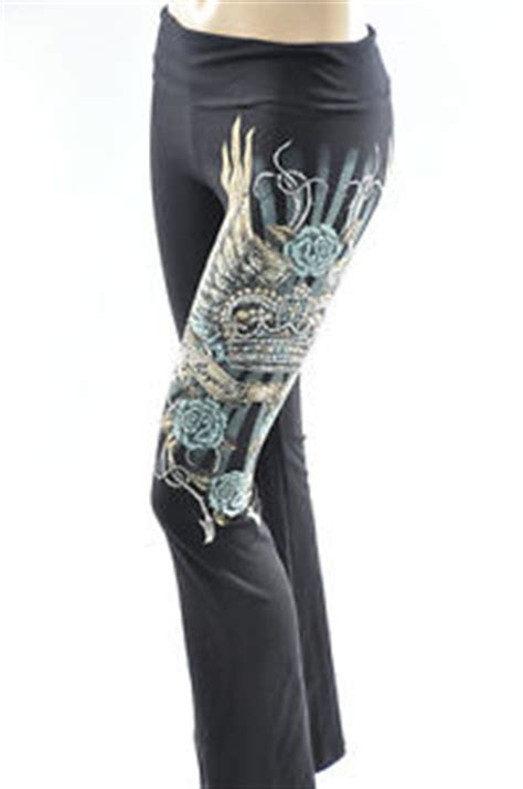 black yoga pants crystal roses angel wings cross crown
