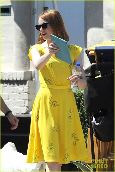 emma stone dress la la land emma stone wears a lovely yellow dress for la la land