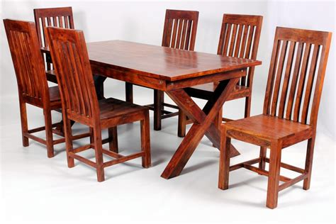 Solid Wood Dining Table And Chairs Solid Wooden Dining Room Furniture Antique Look Set Homegenies