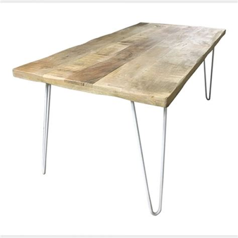 Dining Table With Hairpin Legs Hairpin Leg Dining Table In Timber With White Legs