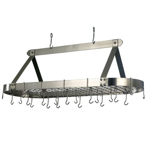 Pot And Pan Rack Home Depot 15 5 in x 19 in x 48 in oval satin nickel pot rack with 24 hooks 109sn the home depot