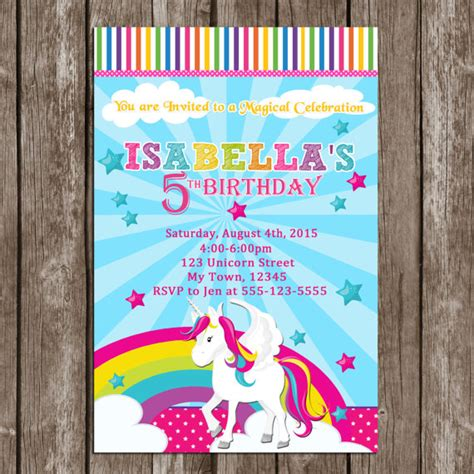 printable rainbow unicorn invitations rainbow unicorn birthday invitation party personalized
