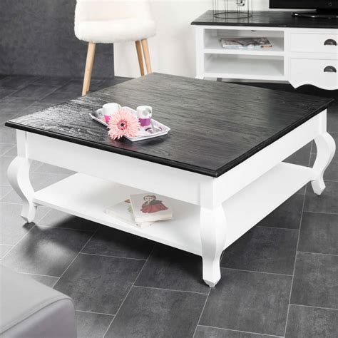 Table basse acajou : bois massif, carrée blanche, noire