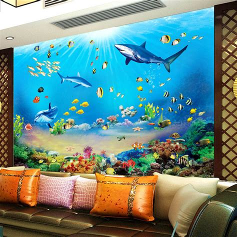 Aquarium Fiber Aquarium Akrilik Akuarium Fiber Size S photo wallpaper hd underwater world shark tropical fish 3d