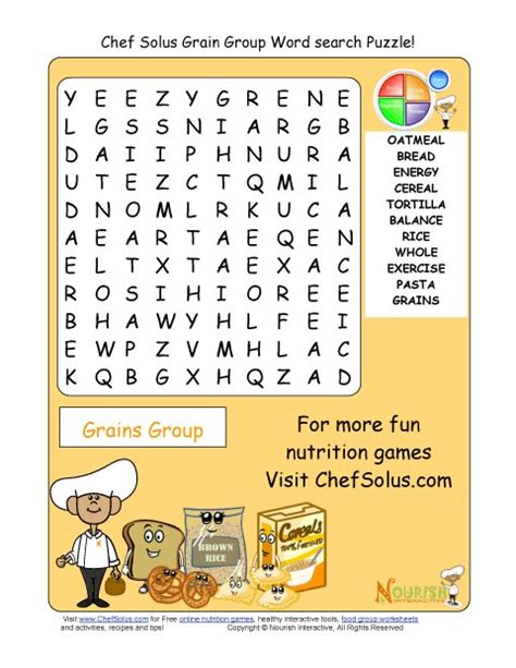 printable word search nutrition printable 11 word search puzzle grains group school