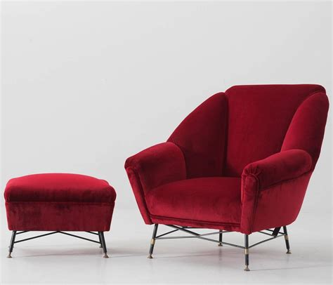 red chair with ottoman italien red velvet lounge chair with accompanying ottoman