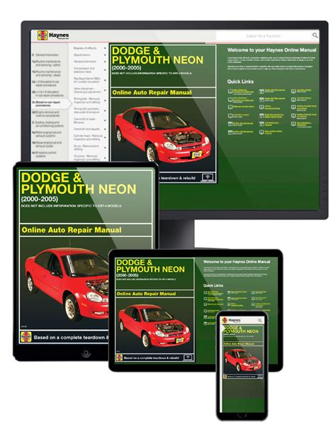 online auto repair manual 1996 plymouth neon engine control dodge plymouth neon online service manual 2000 2005