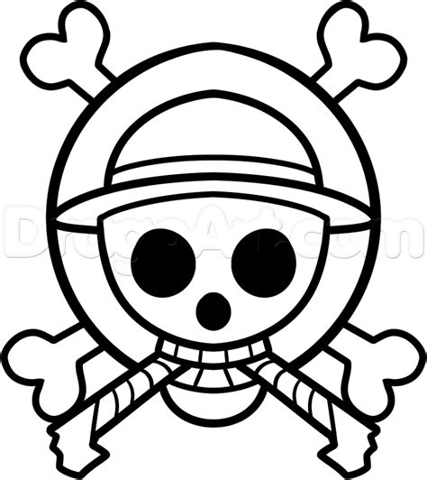 tutorial logo one piece how to draw the one piece jolly roger step by step anime