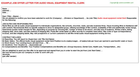 Rental Letter Of Offer Tool And Equipment Rental Clerk Offer Letters