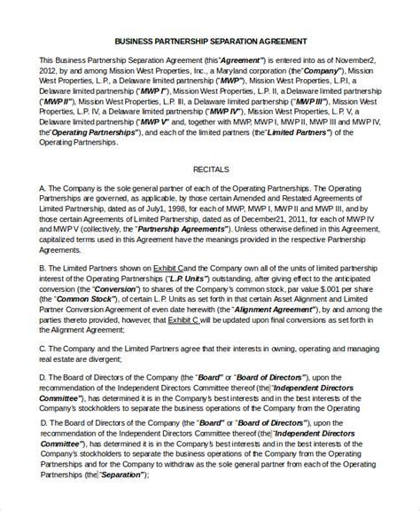 7 Sle Business Partnership Agreements Pdf Doc Sle Templates Business Partnership Separation Agreement Template