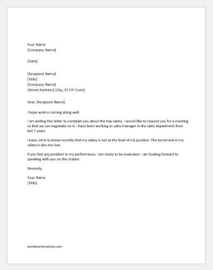 Resignation Letter Sle Reason Low Salary low salary complaint letter to word excel templates