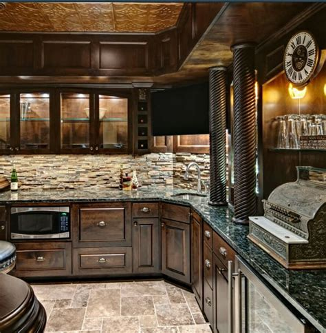 Basement Bar Backsplash Home Bar With Backsplash Granite Interior Rock