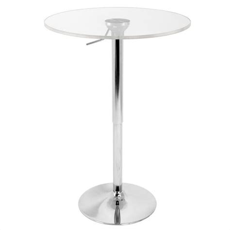 Clear Table L by Lumisource Adjustable Bar Table With Clear Top Bt Adj23tw Cl