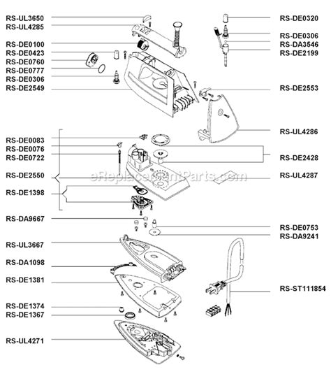 rowenta iron parts diagram rowenta de811 parts list and diagram ereplacementparts
