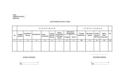 format buku inventaris kelas contoh buku barang pakai habis dalam inventaris barang