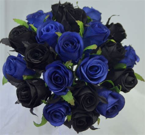 Navy Black Flower Mix silk wedding bouquet blue black roses pre made posy