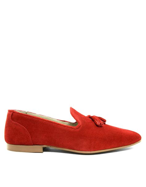 tassel shoes asos tassel loafers in suede in for redsuede lyst