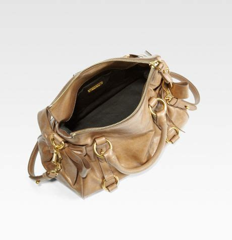 Valentino Laminated Vitello Bow Tote by Miu Miu Vitello Mini Bow Bag In Brown Cinnamon Lyst