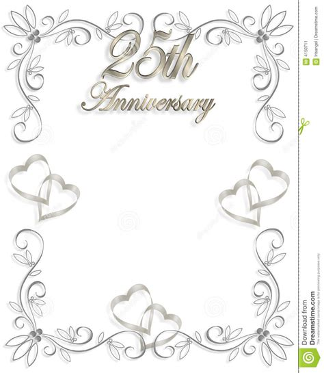25th wedding anniversary invitation stock image image