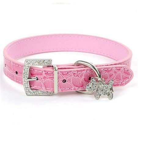 pet collar 1pcs pu leather collar rhinestone puppy buckle puppy