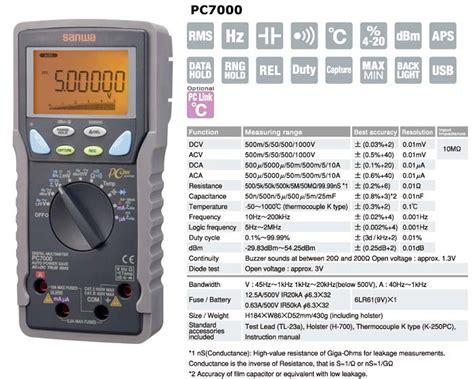 Daftar Multitester Digital Sanwa harga jual sanwa pc7000 true rms digital multimeter