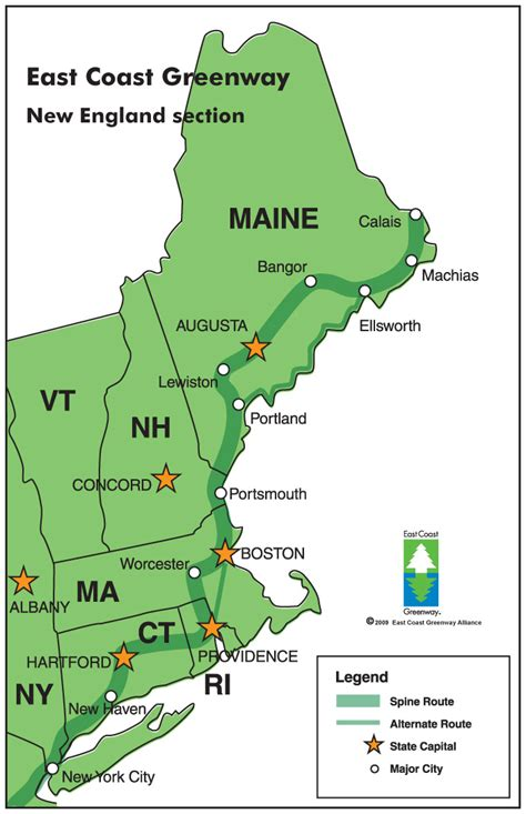 map of northeast coast usa three new trips on the east coast greenway