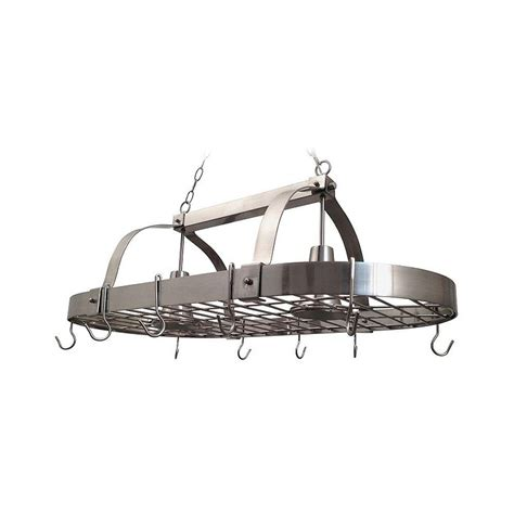 designs 2 light brushed nickel kitchen pot rack