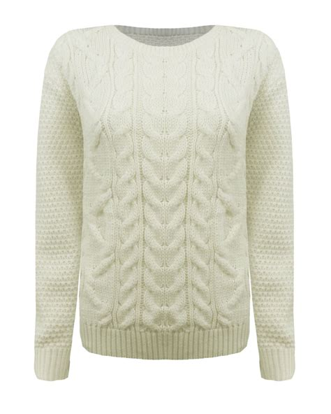 Knitted Jumper knitted crew neck sleeve cable knit jumper chunky sweater top ebay