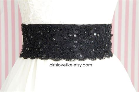 beaded sash black beaded alencon lace sash belt bridal sash bridesmaid