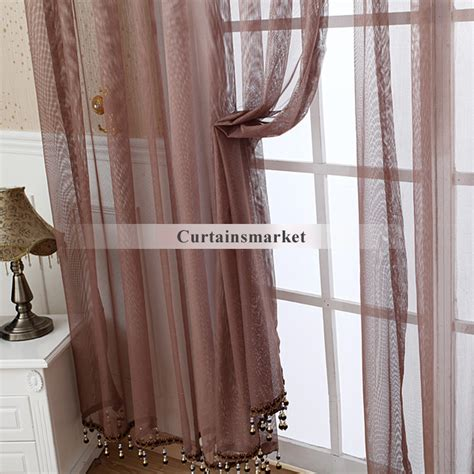 vintage sheer curtains affordable yarn coffee colored vintage sheer curtains
