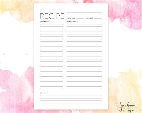 Binder Size Recipe Card Templates by Recipe Cards Printable Recipe Card Template Recipe Sheet