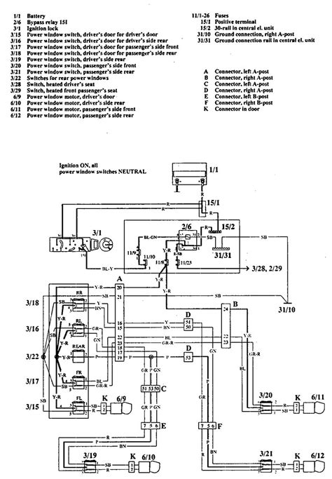 volvo 740 1992 wiring diagrams power windows