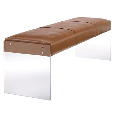 brown leather bench galileo brown leather modern living room bench