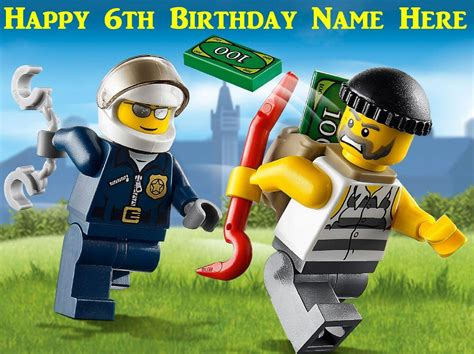 Edible Garden Cake Decorations Lego City Police Edible Icing Cake Toppers Personalise