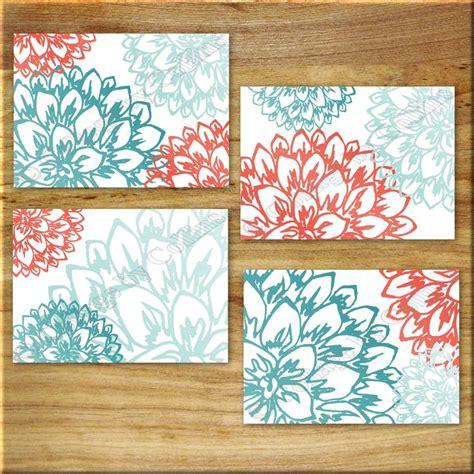 coral, teal, aqua, turquoise, orange, wall art, wall, art, flowers, peonies, peony, floral