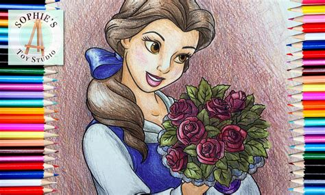 Coloring Page   Disney Princess Belle with Roses colored