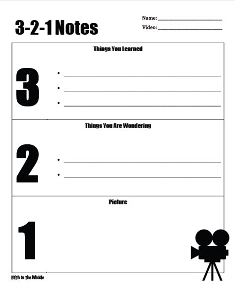 Fifth Grade Freebies 3 2 1 Notes 3 2 1 Strategy Template