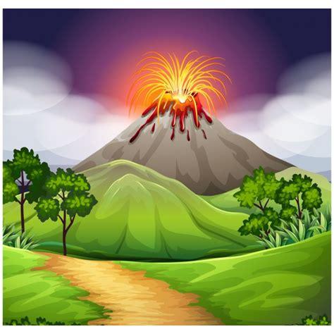 volcano background volcano background design vector premium