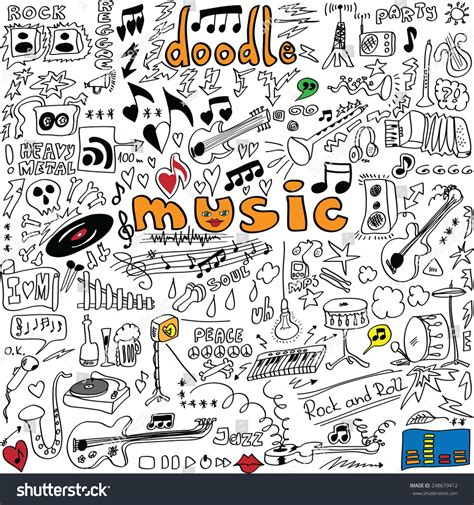 musical doodle free mp3 big set doodle symbols isolated stock vector