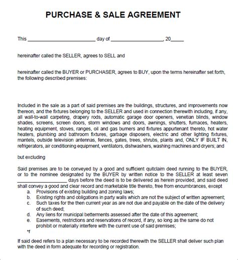 purchase and sale agreement template 7 sales agreement templates word excel pdf templates