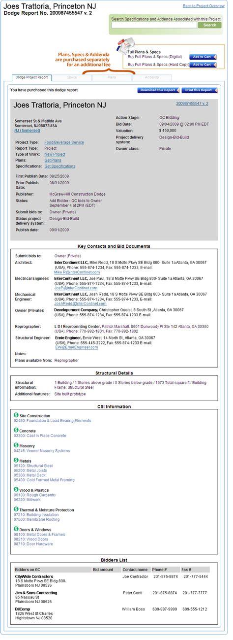 mcgraw hill dodge reports sle dodge report dodge project center help mcgraw